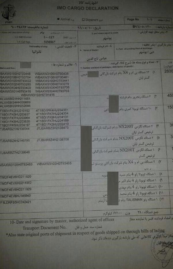 اسناد جدید از ورود ۵۱ خودروی لوکس با ترک تشریفات و بدون ثبت سفارش