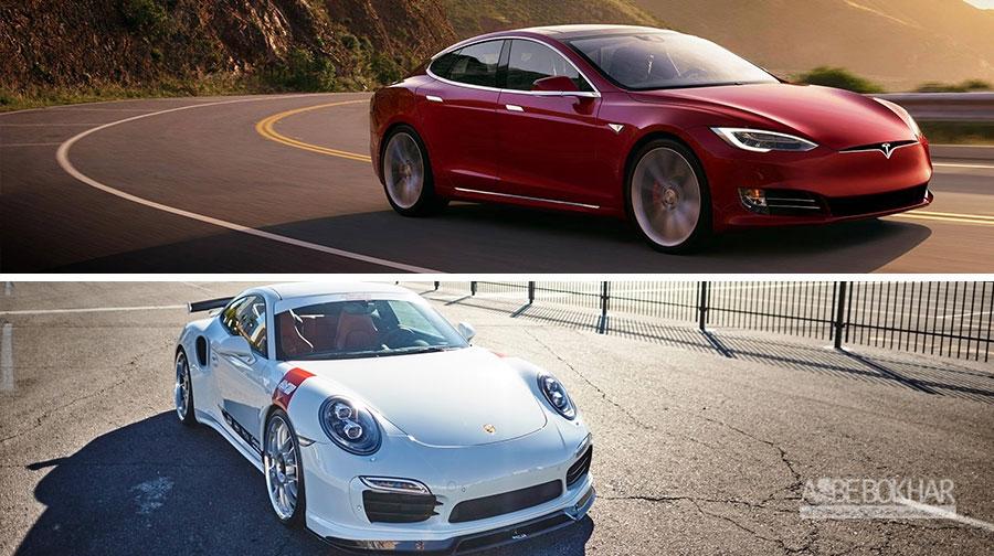 درگ تماشایی تسلا مدل S و پورشه 911 توربو S