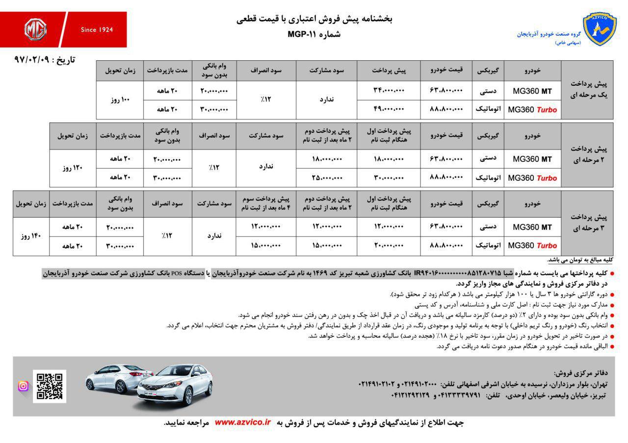 شرایط فروش و قیمت جدید خودروهای MG360