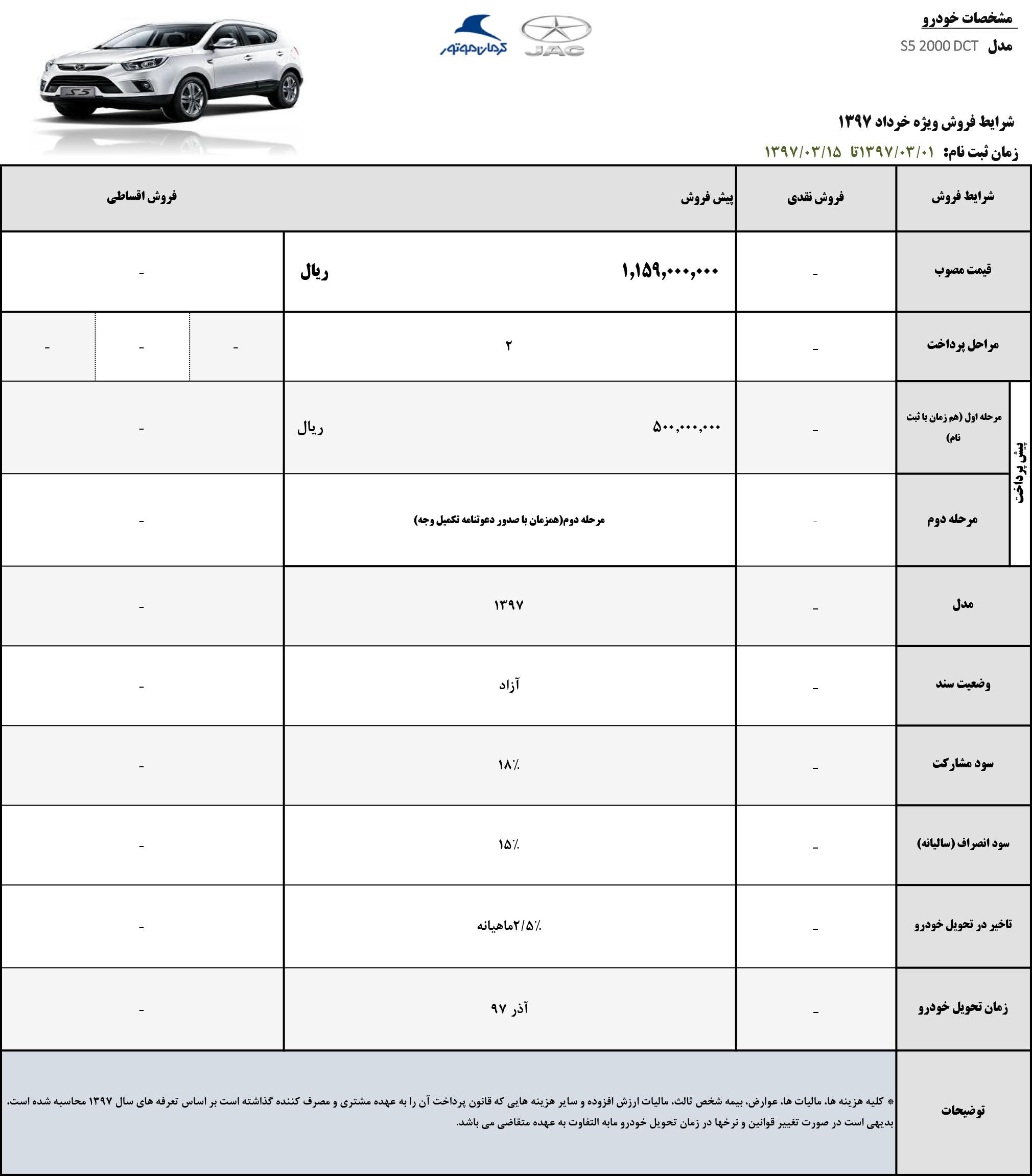 شرایط فروش جدید خودروهای جک کرمان موتور – خرداد 97