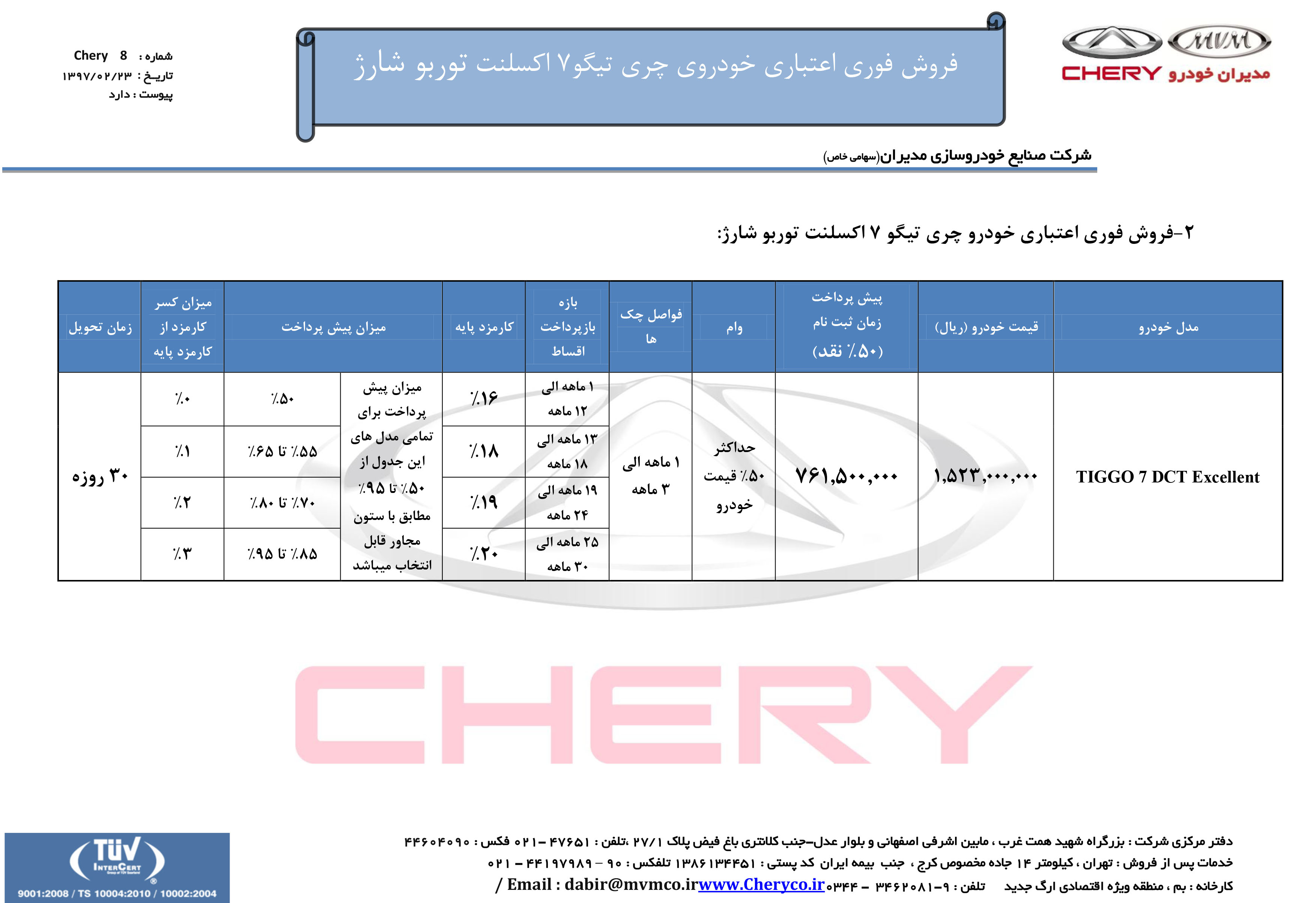 شرایط فروش و قیمت جدید محصولات چری در ایران