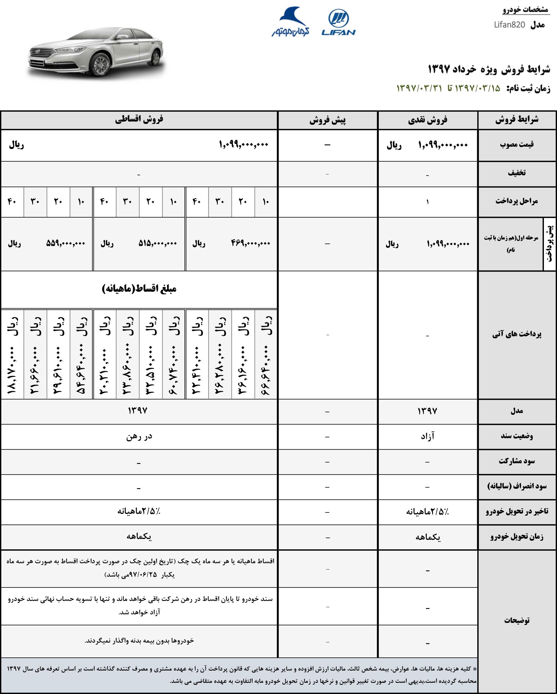 فروش ليفان 820 - مدل 97 - ويژه نيمه دوم خرداد