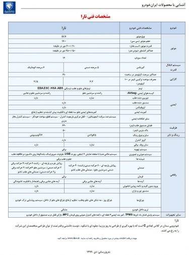 کاتالوگ ایران خودرو تارا